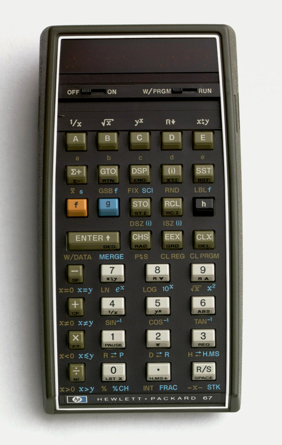Photograph of a HP-67 Calculator.