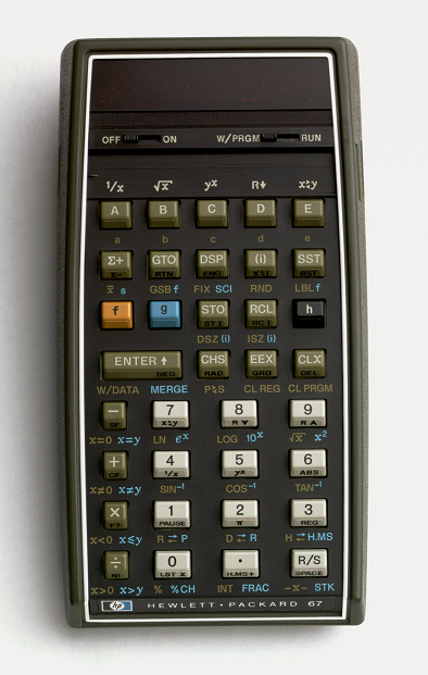 Photograph of a HP-67 Calculator.